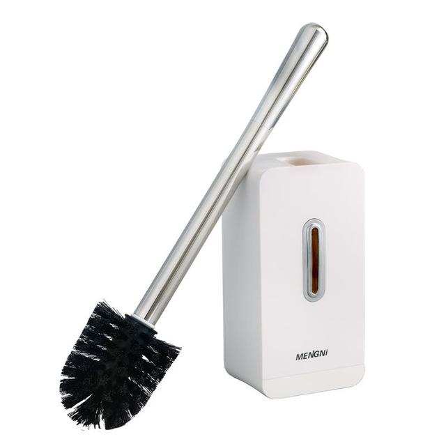 Modern Stainless Steel White Toilet Brush and Holder Set