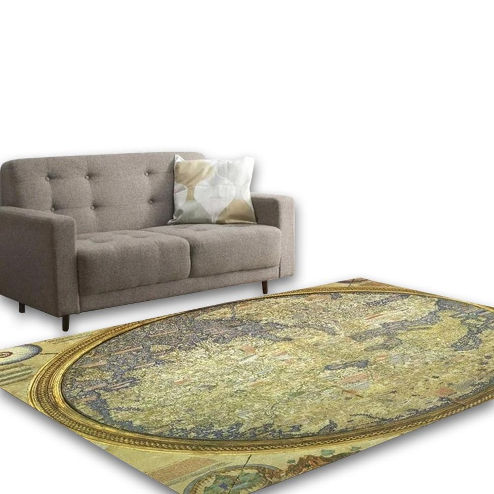 Multicolour Ancient Map Living Area Carpet - Hansel & Gretel Home Decor