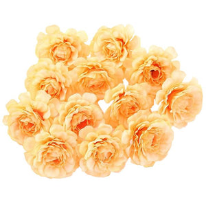 Orange Artificial Flowers Spring Rose Head - Hansel & Gretel Home Decor