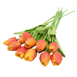 Orange Artificial Flowers Tulip Bouquet - Hansel & Gretel Home Decor
