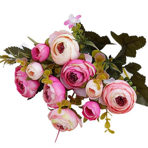Pink and Peach Artificial Flowers Rose Bouquet - Hansel & Gretel Home Decor