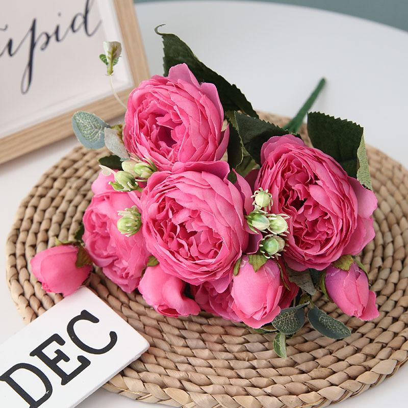 Pink Artificial Flowers Peony Bouquet - Hansel & Gretel Home Decor