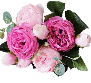 Pink Artificial Flowers Peony Bouquet-Hansel & Gretel Home Decor