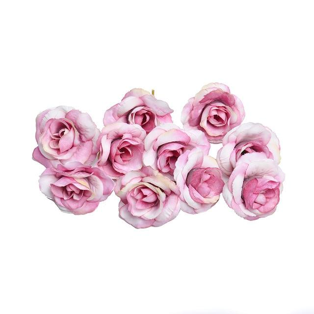 Pink Artificial Flowers Rose Head