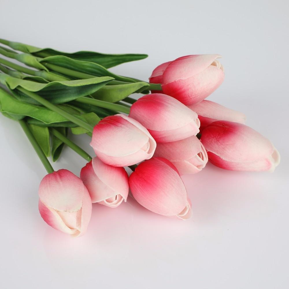 Pink-White Artificial Flowers Tulip Bouquet - Hansel & Gretel Home Decor