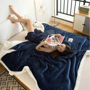 Polyester Cotton Dark Blue Blanket - Hansel & Gretel Home Decor