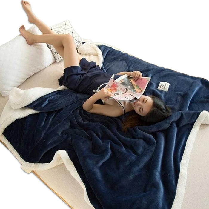 Polyester Cotton Dark Blue Blanket
