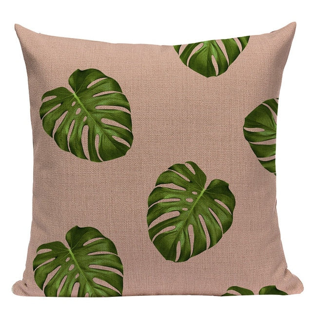 Nordic Shades of Pink and Green Decorative Pillow Case