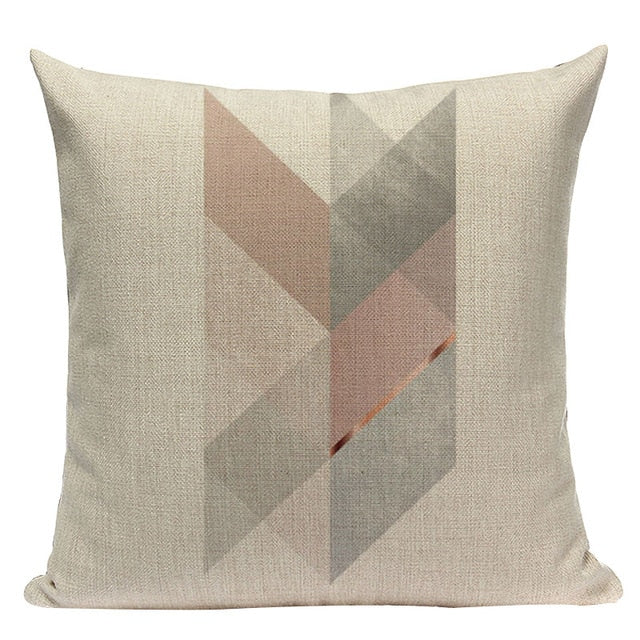 Nordic Shades of Pink and Brown Decorative Pillow Case
