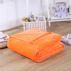Fleece Plaid Orange Blanket