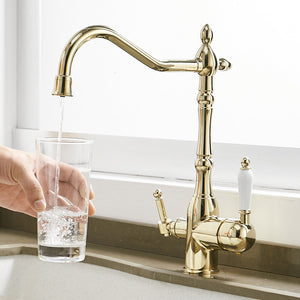 Solid Brass Smooth Gold Kitchen Faucet Rotating and Water Purifying - Hansel & Gretel Home Decor