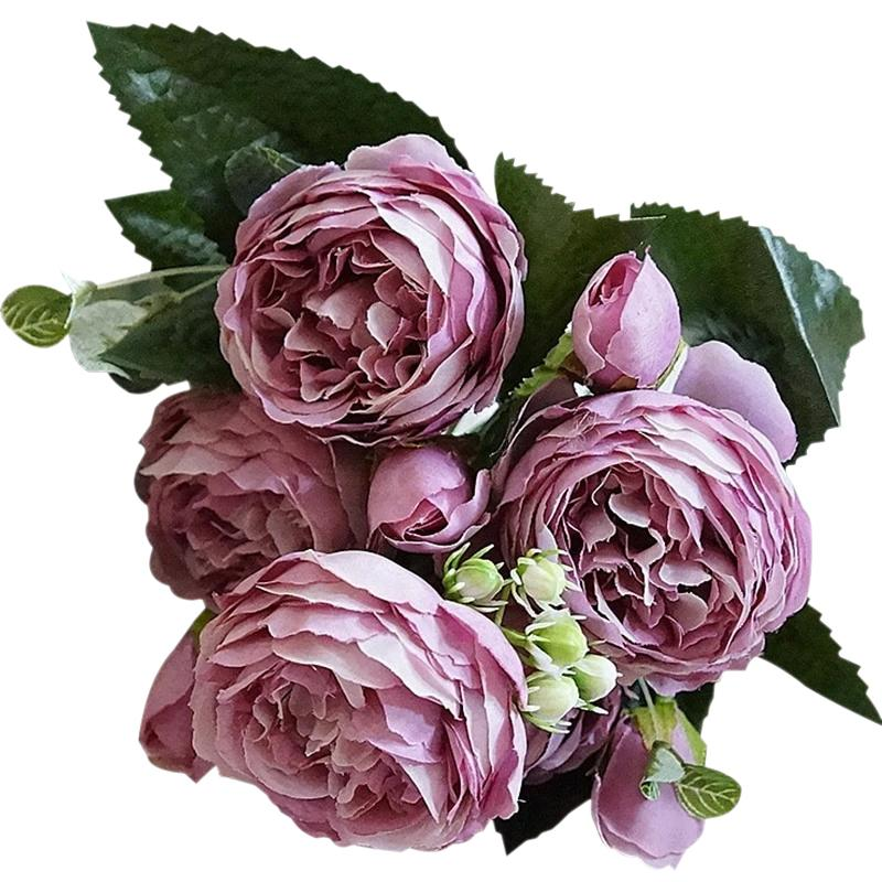Purple Artificial Flowers Peony Bouquet - Hansel & Gretel Home Decor