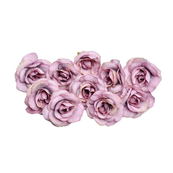 Purple Artificial Flowers Rose Head