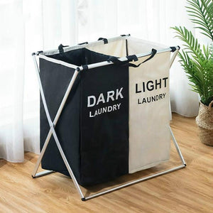 Modern Black and White Foldable Laundry Basket - Hansel & Gretel Home Decor