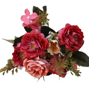 Red Artificial Flowers Peony Bouquet - Hansel & Gretel Home Decor