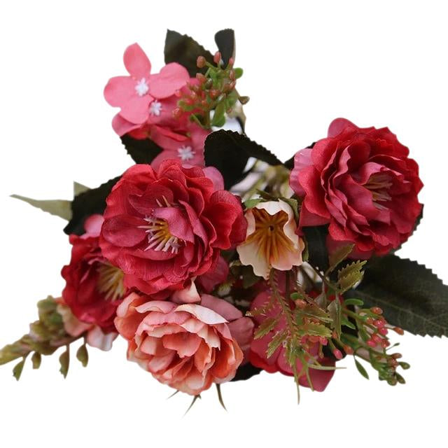 Red Artificial Flowers Peony Bouquet