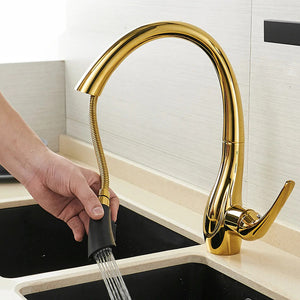 Brass Gold Kitchen Faucet Pull Out and Rotatable - Hansel & Gretel Home Decor
