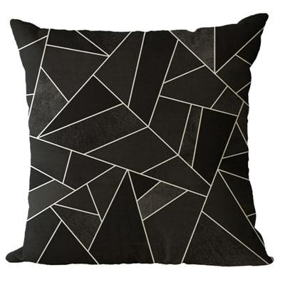 Simple Patterned Black Decorative Pillow Case