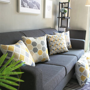 Contemporary Yellow and Gray Decorative Pillow Covers - Hansel & Gretel Home Decor