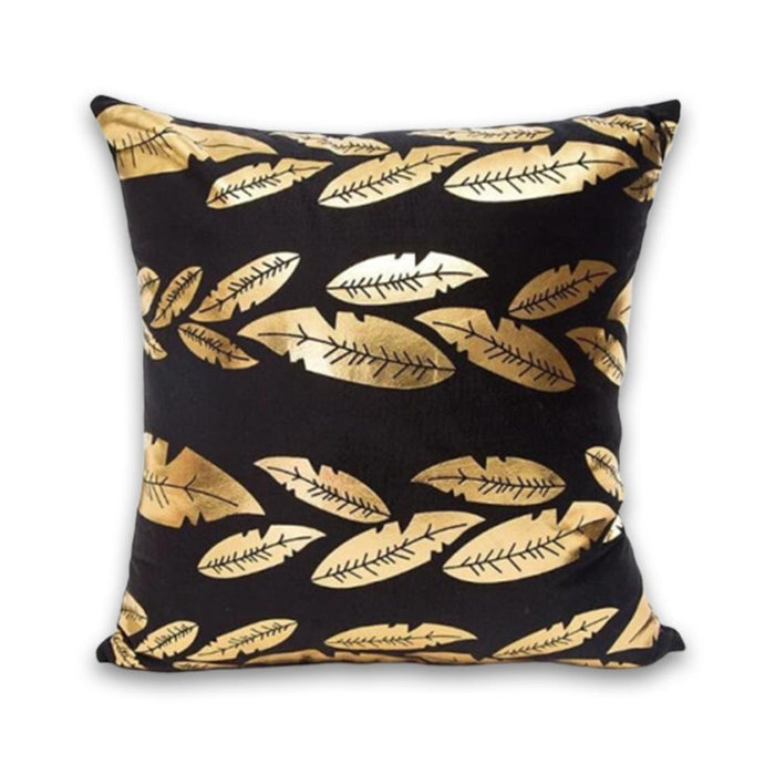 Stylish Black and Gold Decorative Pillow Case