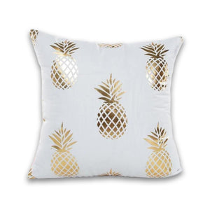 Stylish White and Gold Decorative Pillow Case - Hansel & Gretel Home Decor
