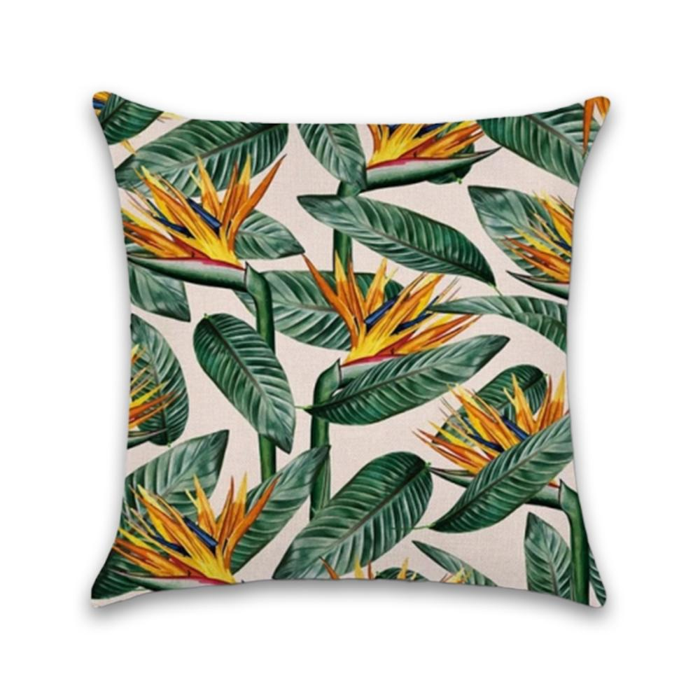 Tropical Green and Orange Decorative Pillow Case - Hansel & Gretel Home Decor