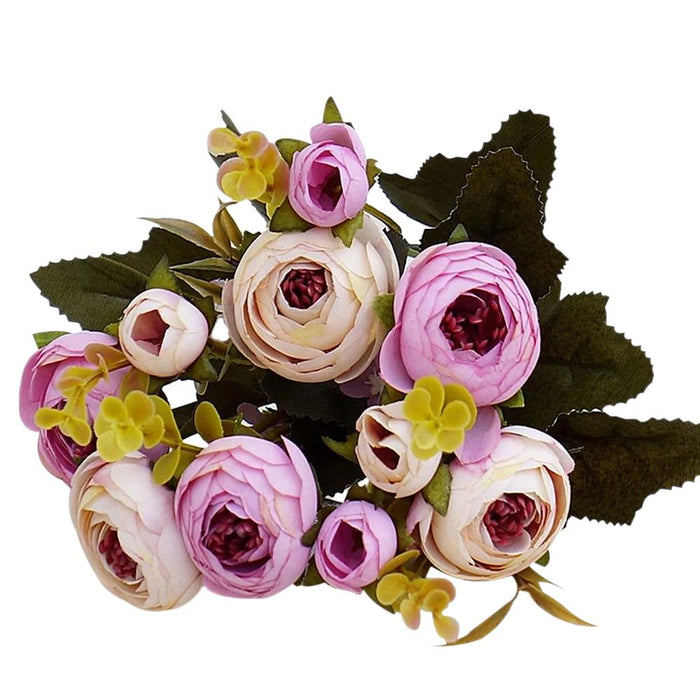 Violet and White Artificial Flowers Rose Bouquet