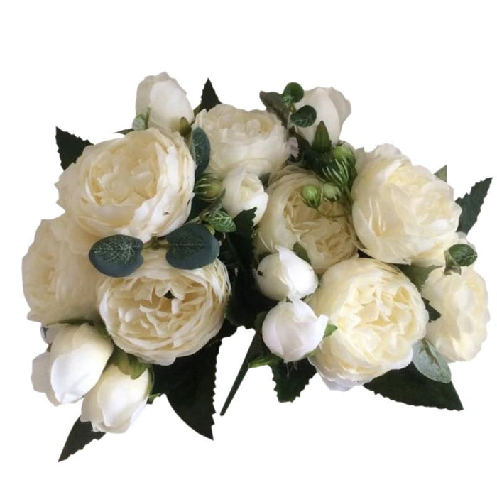 White Artificial Flowers Peony Bouquet