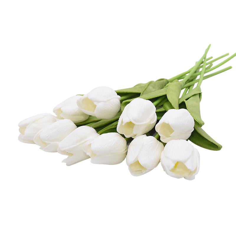 White Artificial Flowers Tulip Bouquet - Hansel & Gretel Home Decor