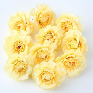 Yellow Artificial Flowers Spring Rose Head - Hansel & Gretel Home Decor