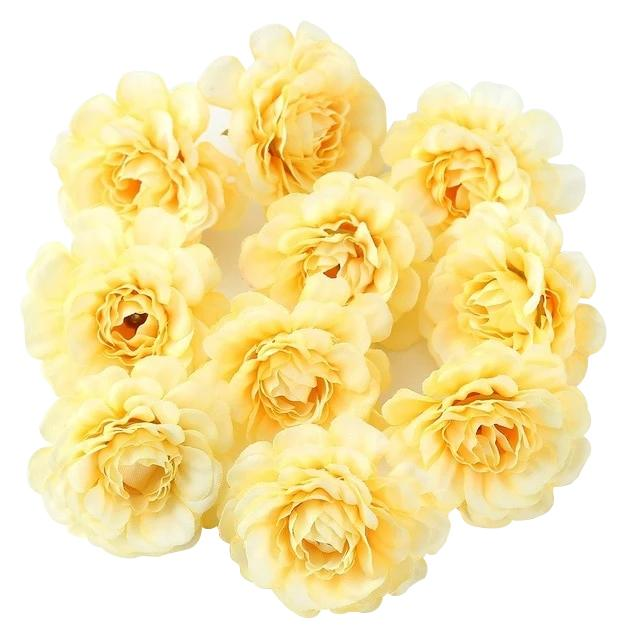 Yellow Artificial Flowers Spring Rose Head