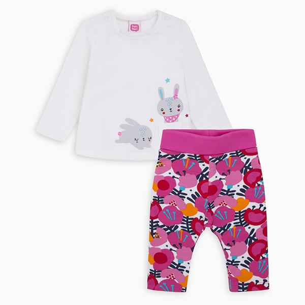 CHIC BUNNY T-SHIRT AND PLUSH TROUSERS
