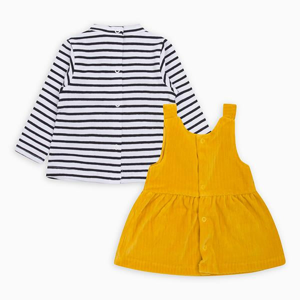 STRIPES N'DOTS CORDUROY PINAFORE AND T-SHIRT