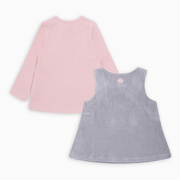 COZY FRIENDS CORDUROY PINAFORE AND T-SHIRT