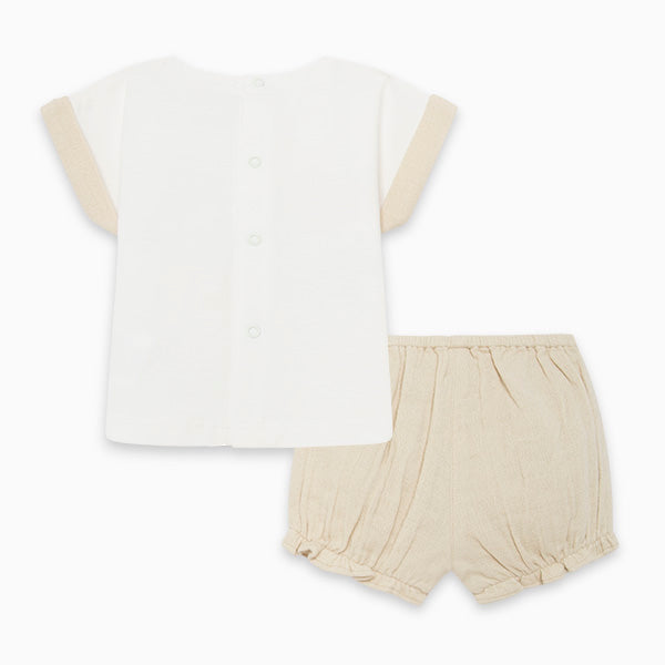 SAVANNA JERSEY T-SHIRT AND CHIFFON SHORTS