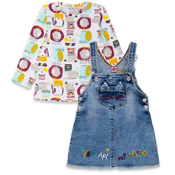 AMAZING FRIENDS DENIM PINAFORE AND T-SHIRT