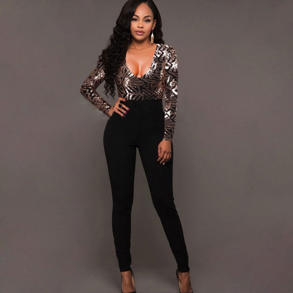 Womannewstyle Black Sequin patchwork bandage Jumpsuit