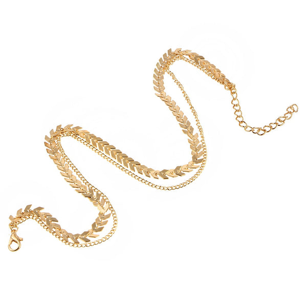 Womannewstyle New Chain Choker Two Layers Necklace