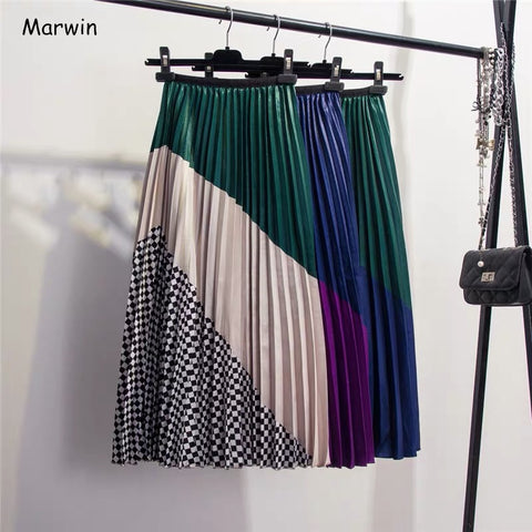 womannewstyle Spring New-Coming European Color Matching Plaid  Pleated skirt