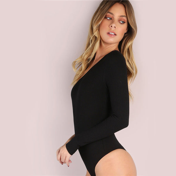 Womannewstyle Black Basic One Shoulder Bodysuit