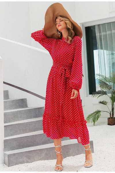 maxi Elegant polka dot print dress