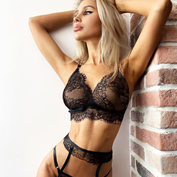 Womannewstyle Sexy Lingerie Lace Babydoll See-through Wireless Bra