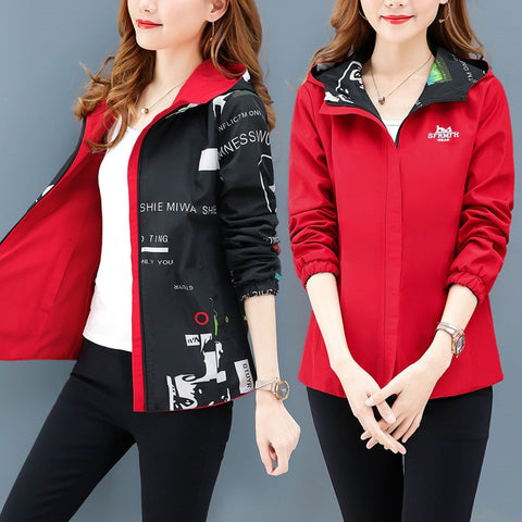 Womannewstyle Streetwear Hooded Printed jacket