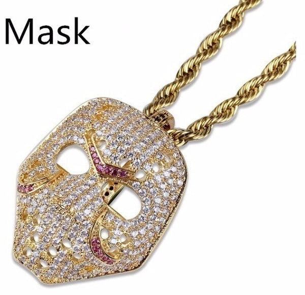 Womannewstyle Mask Long Necklace Stainless Steel