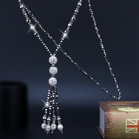 Womannewstyle Japan Korean Fashion Shiny Crystal Beads Long Necklace