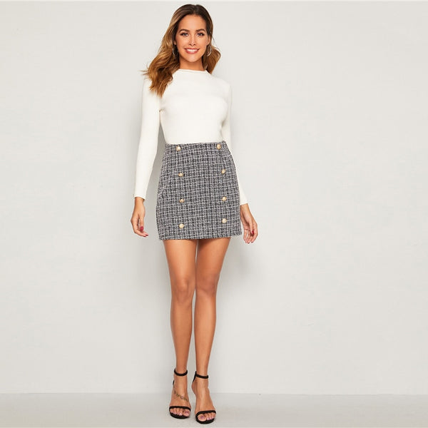 Black and White Double Breasted Tweed Skirts