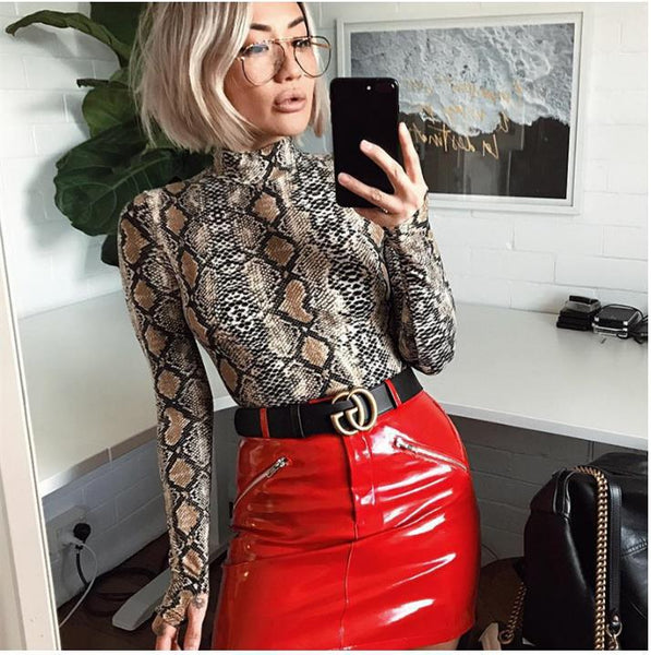 Womannewstyle NEW High Neck Long Sleeve Sexy Women Bodysuit