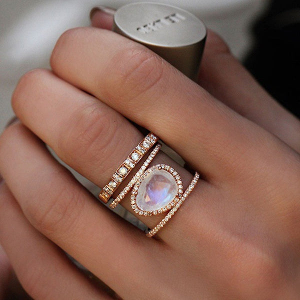Womannewstyle Irregular Natural Moonstone Rings