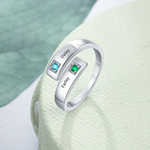 Womannewstyle Personalized Women Rings with Birthstone ring