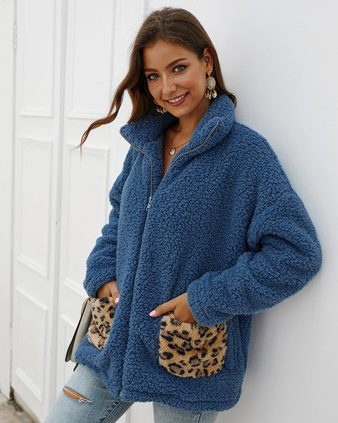 Womannewstyle Leopard Patchwork Casual Teddy Coat